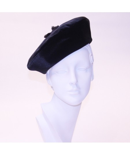 Beret with Frayed Grosgrain Detail