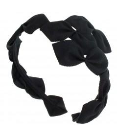 Black Sabrina Headpiece made of American made grosgrain ribbon
