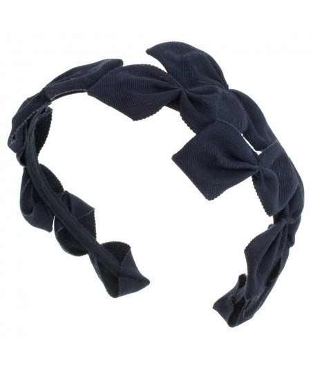 Navy Sabrina Headpiece made of American made grosgrain ribbon