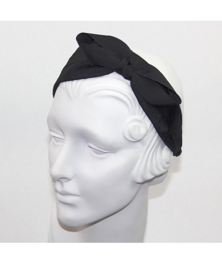 Satin Covered Extra Wide Headband with Side Grosgrain Bow