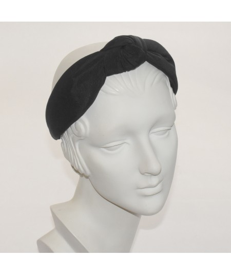 Black Bengaline Padded Center Turban Headband