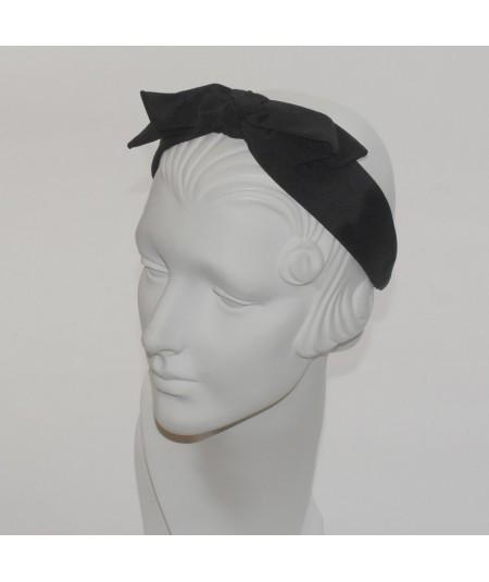 Black Bengaline Center Bow Headband