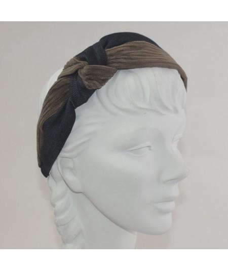 Tabac Indigo Corduroy and Denim Side Turban Headband