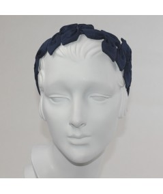 Navy Sabrina Headpiece made of American made grosgrain ribbon