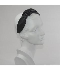 Black Leather Side Turban Headband