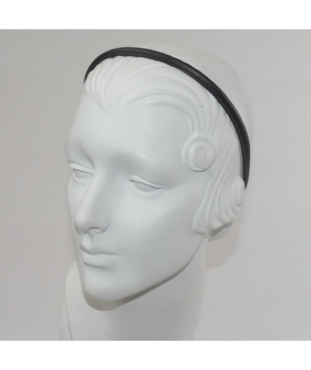 Black Leather Skinny Headband