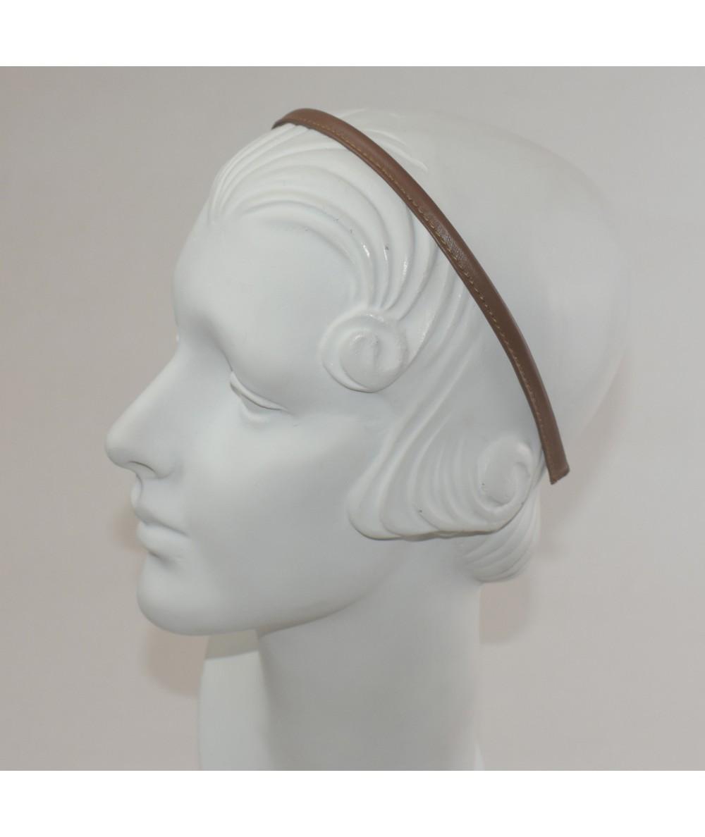 English Tan Leather Skinny Headband
