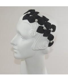 Black Grosgrain Sabrina with Rhinestone Balls