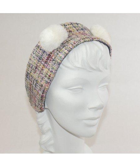 Madison Silk Print Earmuff with Faux Fur Earmuff