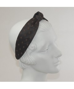 Black With Brown Dotted Tulle Harlow Headband