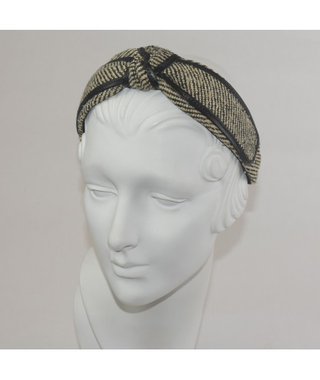 Park Avenue Tweed with Leather Binding Center Turban Headband