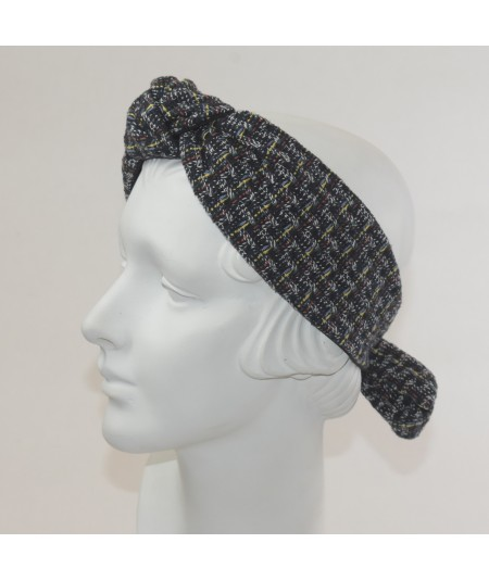 Navy Multi Boucle Turban Elastic Headband with Bow at Back