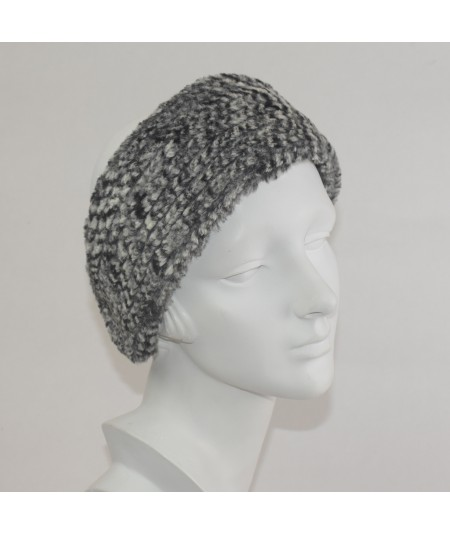 Black And Grey Stripe Faux Fur Earmuff