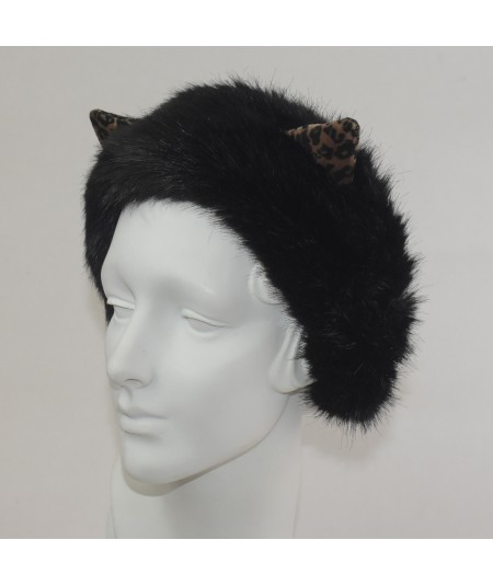 Faux Fur Earmuff with Velvet Animal Print Ears