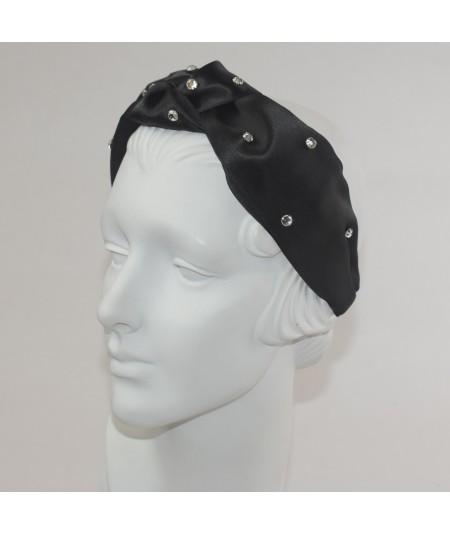 Black Satin Center Turban Rhinestones Headband