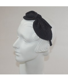 Navy And Rust Winter Dots Boucle or Tweed Side Bow Headband