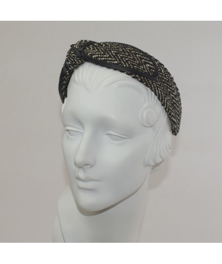 Green Which Silk Print Side Knot with Leather Binding Headband