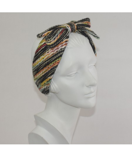 Multi Color Yarn Center Bow Earmuff
