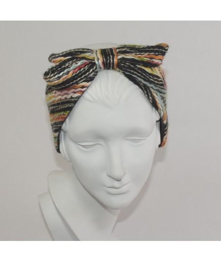 Multi Color Yarn Center Bow Earmuff