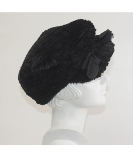 Black Stripe Faux Fur Golfer Hat with Grosgrain Bow