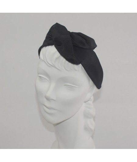 Black Bengaline Handmade Rose Headband
