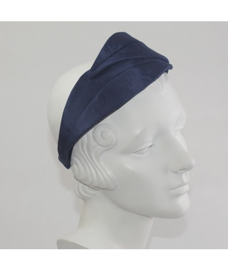 Navy Bengaline Double Leaves Headband