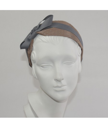 Pecan With Grey Bengaline Covered Extra Wide Headband with Side Grosgrain Bow