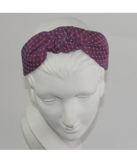 Wine Bengaline Pale Blue Covered Veiling Center Turban Headband