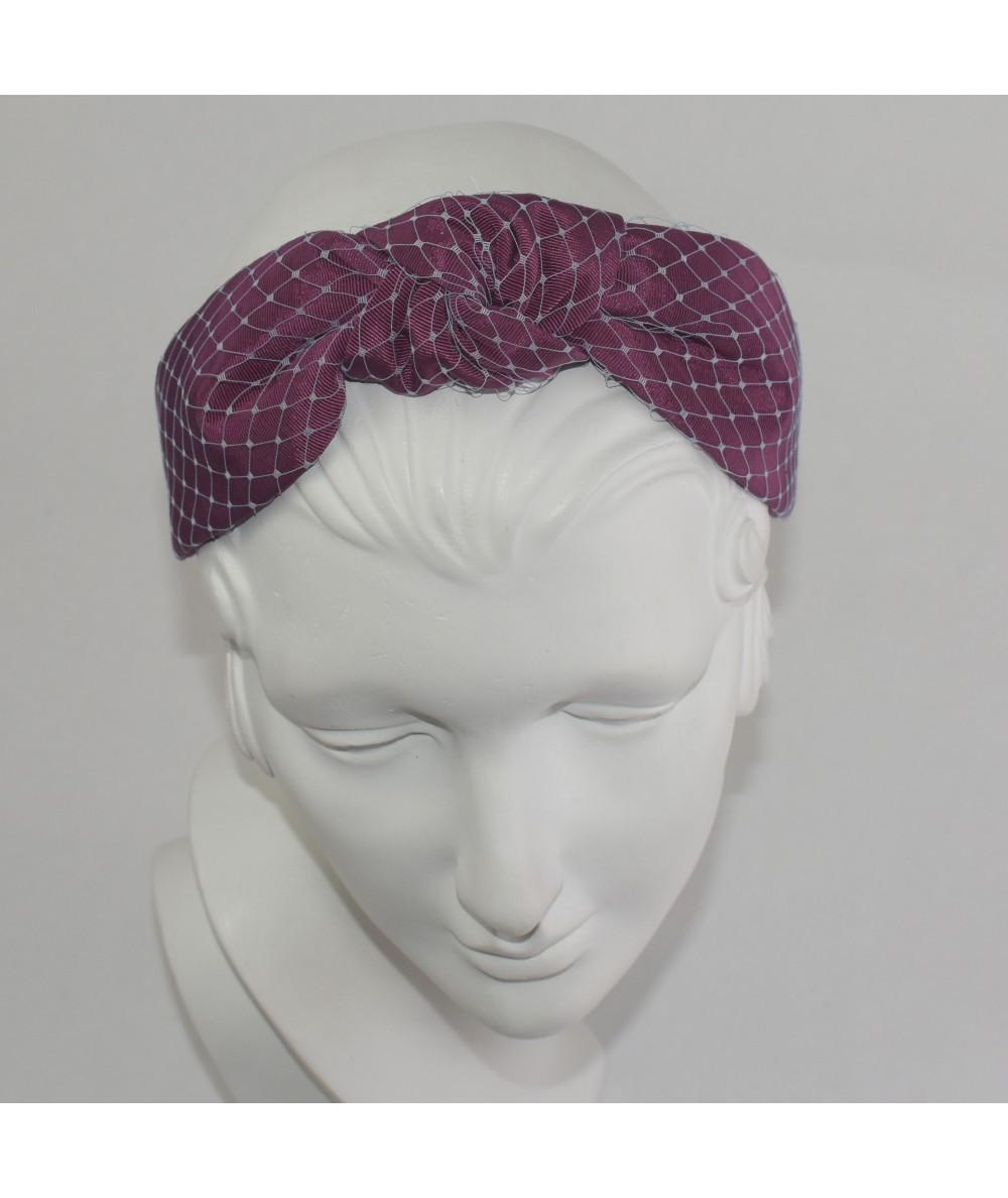 Wine Bengaline Pale Blue Covered Veiling Center Turban Headband
