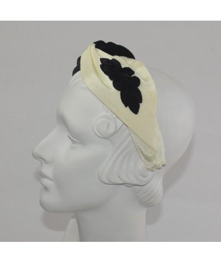 Ivory Black Bengaline/Velvet Turbanita with Velvet Flower