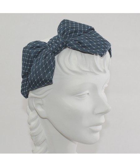 Turquoise Satin Covered Blue Veiling Carolina Bow Headband