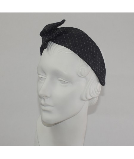 Black Covered Cocoa Bengaline with Covered Veiling Side Detail Headband