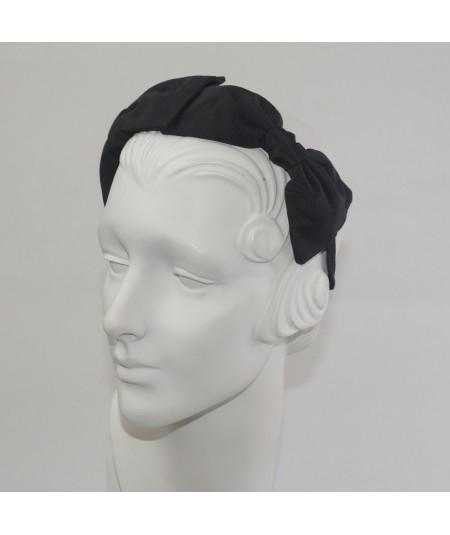 Black Bengaline Double Bow Headband