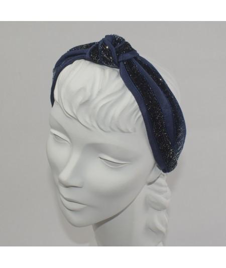 Navy Velvet Sparkle Center Turban Headband