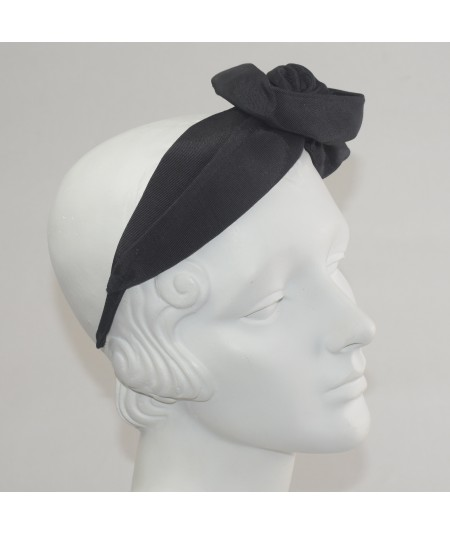Black Bengaline Side Flower Headband