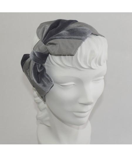 Grey Bengaline & Grey Velvet Carolina Bow Headband