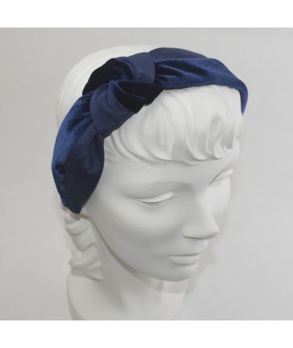 Navy Bengaline & Navy Velvet Side Turban Headband