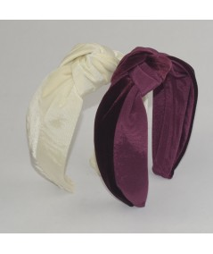 Ivory Burgundy Bengaline & Ivory Burgundy Velvet Center Turban Headband