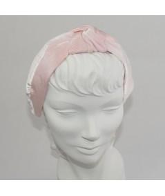 Pale Pink Bengaline & Pale Pink Velvet Center Turban Headband