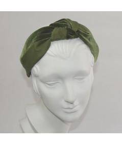 Olive Bengaline & Olive Velvet Center Turban Headband