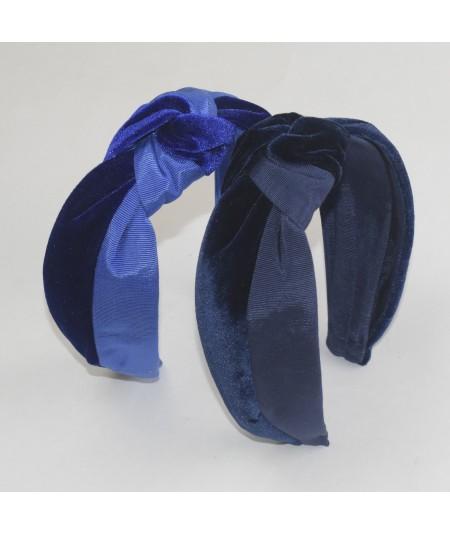 Navy Royal Bengaline & Navy Royal Velvet Center Turban Headband