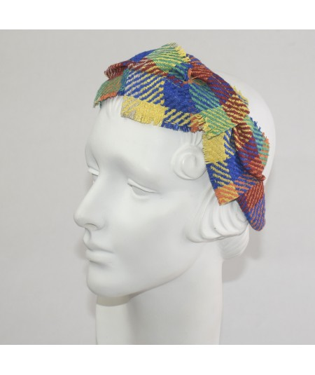Coney Island Raw Silk Frayed Cross Detail Headband