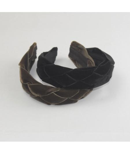 Brown Black Velvet Braided Ribbon Headband