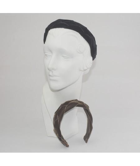 Black Brown Velvet Braided Ribbon Headband