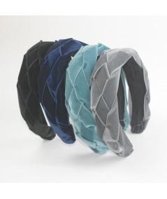 Black Navy Williamsburg Blue Grey Velvet Braided Ribbon Headband