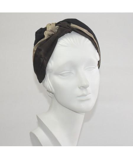 Black Pecan Brown Bengaline Sophia Turban Headpiece