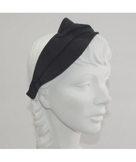 Black Bengaline Double Leaves Headband