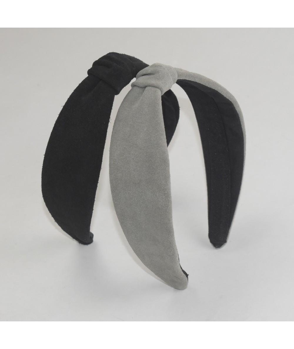 Black Bone Suede Center Divot Headband Forest