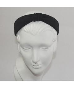 Black Suede Center Divot Headband Forest