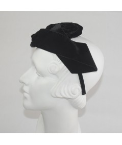 Black Velvet Ribbon Rose Trimmed Headband